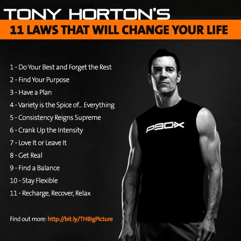11 laws that will change your life from Tony Horton's new book: http://www.amazon.com/The-Big-Picture-Laws-Change/dp/0062282395