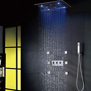 20 Inch Led Shower System Rain Shower Handshower Chrome Shower