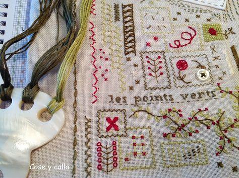 ...Les points verts: 7ª etapa del Mon Cahier de Broderie y Premio!!!