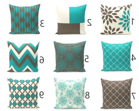 Outdoor Pillows Teal Brown Beige Outdoor Home Decor Outdoor