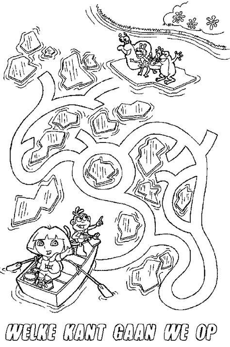Kleurplaten Kerst Doolhof.Doolhof Dora Kleurplaat 15 Dora The Explorer Kleurplaten