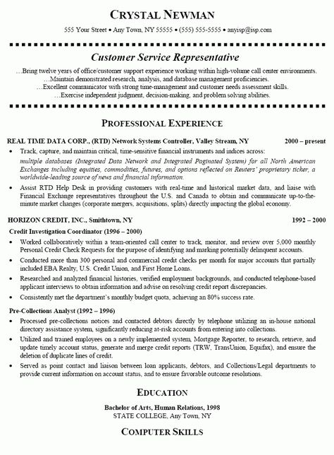 Senior Customer Service Resume (resumecompanion) Resume - telecommunication resume