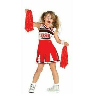 Zombie Cheerleader Girls Fancy Dress Kids Childrens Childs Halloween Costume New