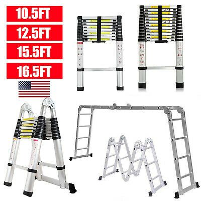 Details About 10 5ft 12 5ft 16 5ft Aluminum Multi Purpose Telescopic Ladder Extension Foldable Telescopic Ladder Foldables Ladder