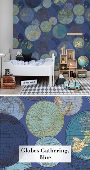 Globes Gathering, Blue | Blau | Tapeten wohnzimmer ...