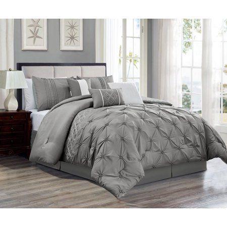 7 Piece Druce Gray Comforter Set Walmart Com Grey Comforter Comforter Sets Grey Comforter Sets
