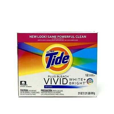 Tide Plus Bleach Vivid Laundry Detergent White Bright 21 Oz 1 31 Lb 12 Loads 37000278108 Ebay In 2020 With Images Laundry Detergent Bleach Detergent