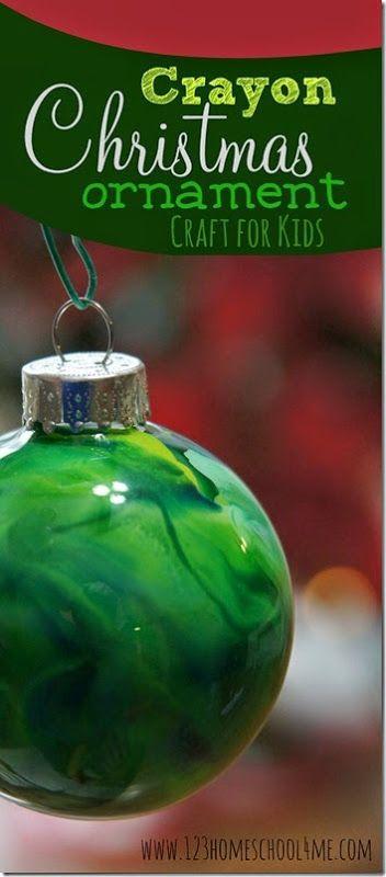 Marbleized Crayon Christmas Ornament