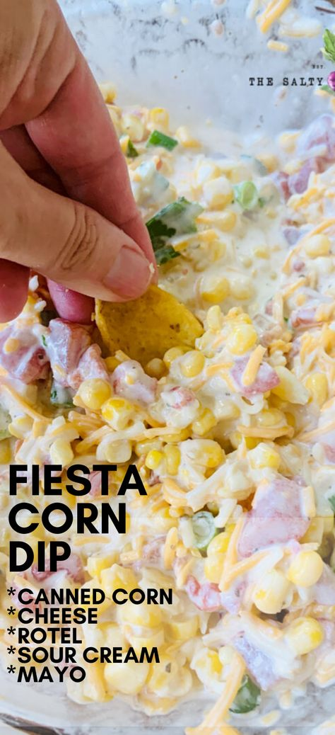 Fiesta Corn dip with Rotel and sour cream, is a delicious large party dip where you and your party guests will enjoy bite after heart bite of creamy and cheesy corn dip. Prepped in 5 minutes, there is Cold Appetizers, Easy Appetizer Recipes, Appetizers For Party, Snack Recipes, Cooking Recipes, Easy Appitizer, Last Minute Appetizer, Corn Recipes, Cold Dip Recipes