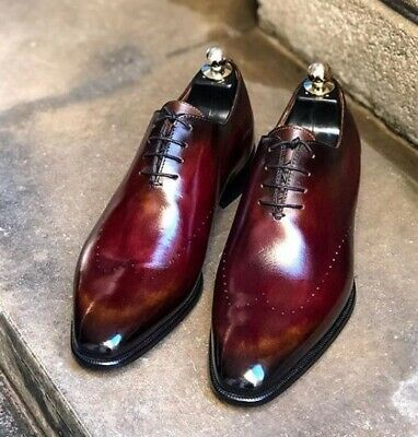 New Pure Handmade Burgundy Shaded Leather Dress Shoes For Men S Ebay Dress Shoes Men Leather Dress Shoes Dress Shoes