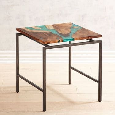 Moraine Wood Teal Resin End Table Pier 1 Imports End Tables