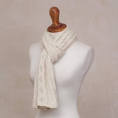 Antique White 100 Baby Alpaca Knit Scarf From Peru Lady In Antique White Baby Alpaca Alpaca Scarf Scarf Design