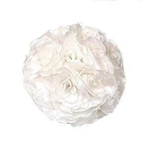 Ben Collection Fabric Artificial Flowers Kissing Ball 10 Inch White Pomander Flower Balls Artificial Flower Arrangements Wedding