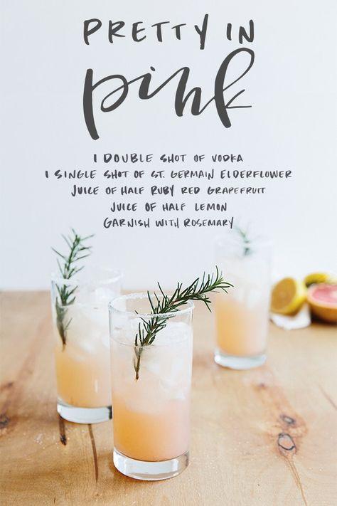 Pretty in Pink Grapefruit, Elderflower & Rosemary Vodka Cocktail | Welcome by Waiting on Martha