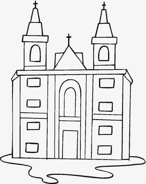 Desenhos Para Pintar Desenho De Igreja Para Colorir Com Imagens