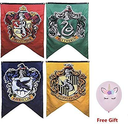 Amazon Com Harry Potter Complete Hogwarts House Wall Banners Ultra Premium Double Layered Indoor Outdoor Party Flag G Wall Banner Party Flags Outdoor Party