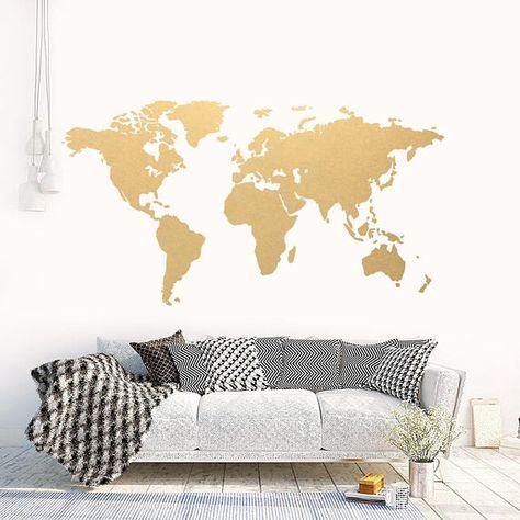 world map gold, modern wall art, vinyl wall sticker, apartment decor