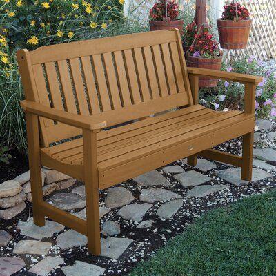 Three Posts Amelia Plastic Garden Bench Size 35 H X 64 W X 25