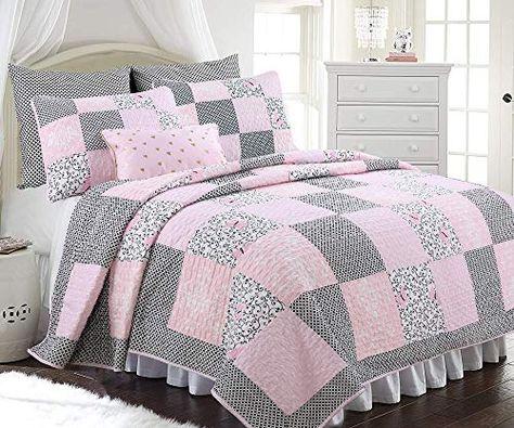 Pink DaDa Bedding BM928L-1 5-Piece Patchwork New Girly Girl Comforter Set King Size