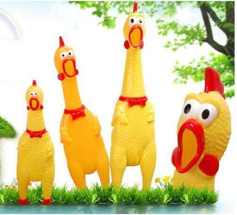 Cool 3 Size Yellow Screaming Rubber Chicken Pet Dog Toy Squeak