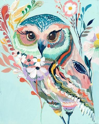 Colorful Owl Nursery Art by Starla Michelle Halfmann - at the Little Crown Interiors Boutique
