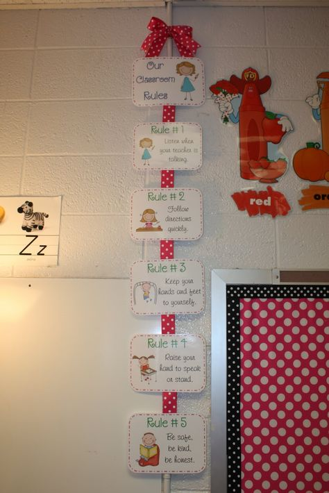 Great way to post rules!!  I love the polka dots!  Who said that classrooms couldn't be cute?!