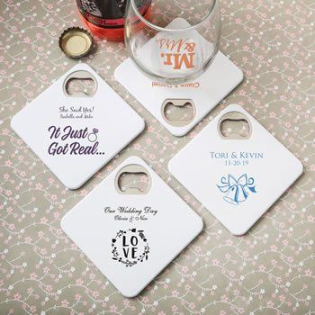 Personalized Wedding Coaster Bottle Opener Duo Favor Personalized Coasters Wedding Best Wedding Favors Bottle Opener Favors