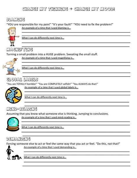Cbt anger management worksheet for 3rd 8th grade students going to
