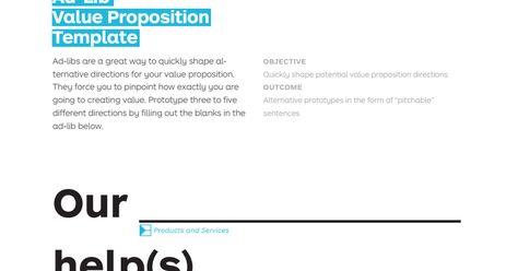 Ad Lib Value Proposition Template Pdf Ad Libs Value Proposition