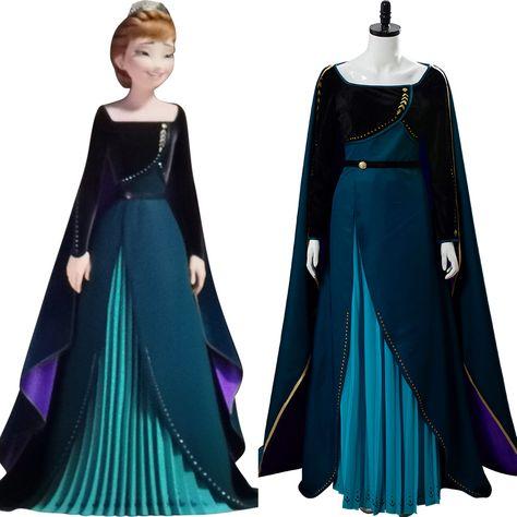 Frozen 2 Queen Anna Coronation Gown Dark Green Dress Cosplay Costume Anna Dress Frozen Frozen Elsa Dress Frozen Outfits