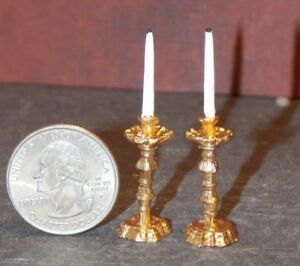 1:12 Dollhouse Miniature Furniture Room Mini Candlesticks White Candles 1 Pair \