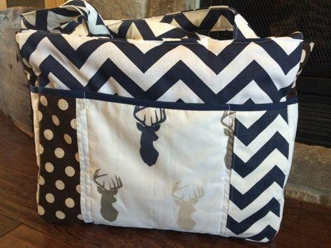 Navy Chevron Deer Heads XLarge Diaper Bag by SamanthaTBoutique