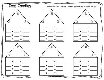 Fact Families Worksheet Pack Multiplication Division Fact Family Worksheet Family Worksheet Fact Families