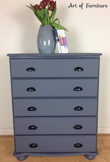 Vintage Large Solid Pine Tallboy Chest Of Drawers Dresser Hand Painted In Soapstone Fusion Miner Upcycled Furniture Tallboy Chest Of Drawers Handmade Furniture