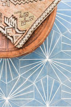 electra- ultra marine bone, cement hexagon tile   interior