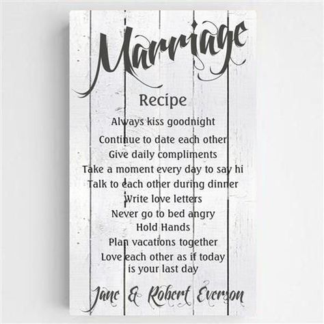 This Personalized Wedding Recipe Sign is sure to be the recipe to live by for your everlasting love. Made of a quality canvas, this ready to hang and is stretched onto a wood frame by hand. This sign