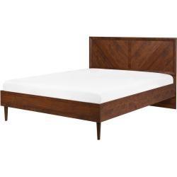 Bed Dark Wood Color Slatted Frame 140 X 200 Cm Mialet Belianibeliani Woodworkingsbedroom 2020 Art Deco Furniture Led