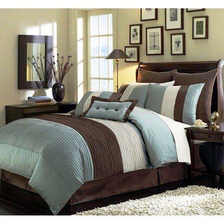 Chezmoi Collection Loft 8 Piece Luxury Pintuck Pleated Striped Comforter Set Walmart Com Home Brown Comforter Sets Blue Bedding Sets Blue and brown queen comforter sets