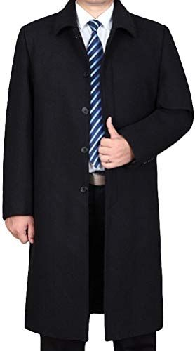 Mordenmiss Mens Long Sleeve Trench Coat with Side Pockets