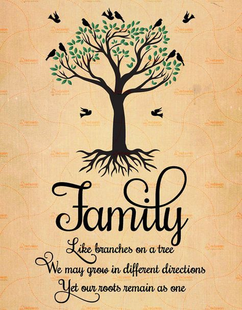 Printable Family Like Branches On a Tree, Family Quote, Family Tree Print, 3 Sizes, Like Branches In