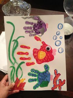 Craft Klatch: Hand Print Fish Plaque Craft Tutorial - Great Fathers Day Gift *draw and dictate scene from Great Barrier Reef
