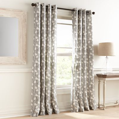 Wren Floral Gray Grommet Curtain Grommet Curtains Dining Room Curtains Curtains