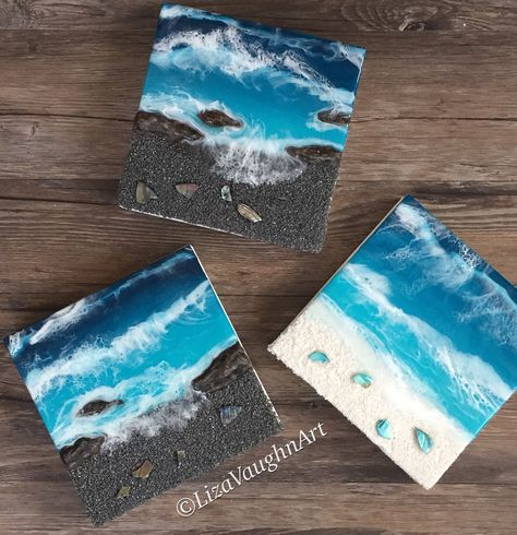Black and white sand resin beach art