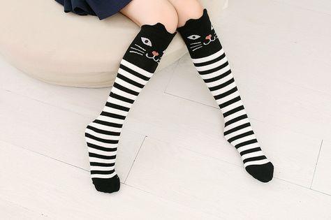High Elasticity Girl Cotton Knee High Socks Uniform Music Chimpanzee Women Tube Socks