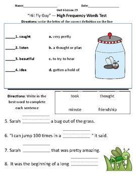 Hi! Fly Guy - Vocabulary & Comprehension Test/Quiz (Journeys