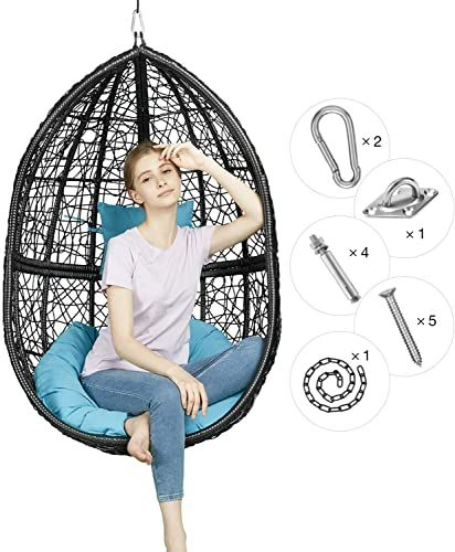 Buy Greenstell Rattan Wicker Egg Hammock Chair Hanging Kits Weather Fastness Hanging Chair Comfortable Blue Cushion Pillow Basket Swing Chair Indoor Outdoor In 2020 Indoor Swing Chair Indoor Chairs Outdoor Bedroom