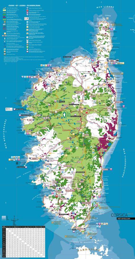 Corsica Tourist Map Mit Bildern Korsika Urlaub Reisen Korsika