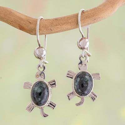 Novica Jade dangle earrings, Marine Turtles - Handcrafted Sterling Silver Sea Life Dangle Jade Earrings