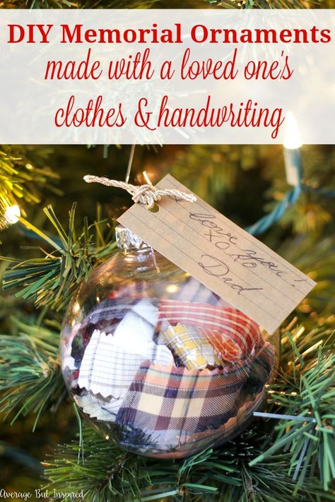 Learn how to make DIY Memorial Ornaments to help honor and remember loved ones who have passed. This project uses a loved one's old clothes and handwriting to create a Christmas ornament that will be cherished by anyone who is missing their loved one. Diy Christmas Decorations, Diy Christmas Ornaments, How To Make Ornaments, Homemade Christmas, Holiday Crafts, Christmas Bulbs, Clear Ornaments, Ornaments Ideas, Dough Ornaments