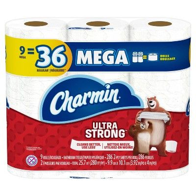 Charmin Ultra Strong Toilet Paper 9 Mega Rolls Charmin Toilet Paper Quilted Northern